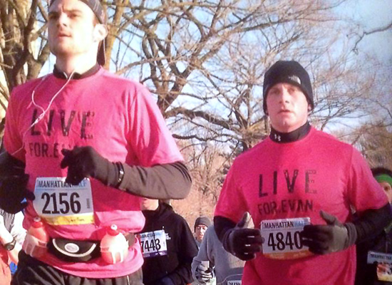 Danny and Brian running in red shirts in memory of Evan.