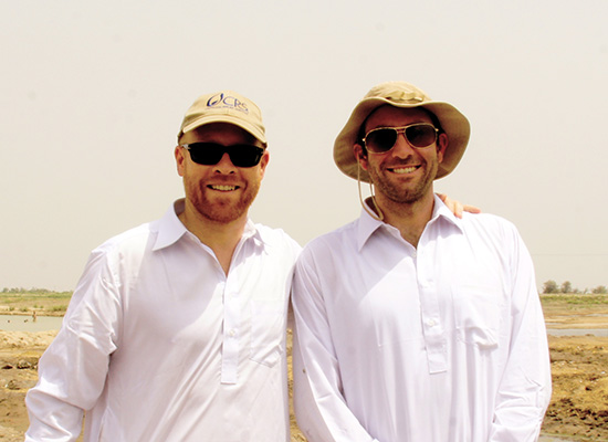 Ryan Carey in white garb with his friend.