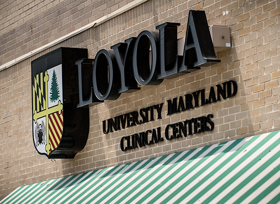 Photo of Loyola's Clinical Centers outdoor sign.