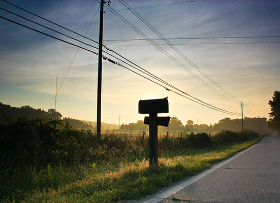 Roadside mailbox in a green field at sunset.