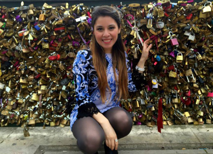 Jazmin Guzman at the Pont des Arts, Paris, France.