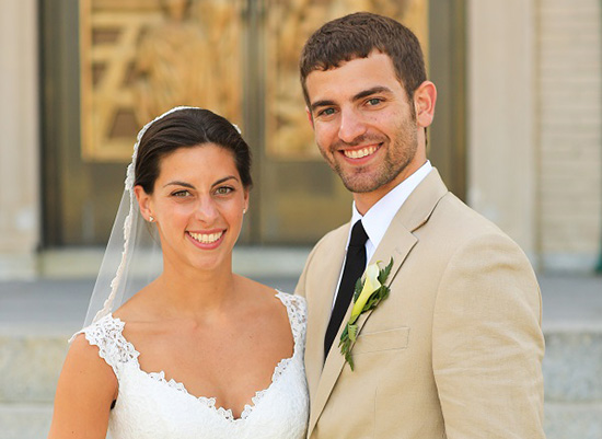 Portrait of Christina and David Bergamo at their wedding.