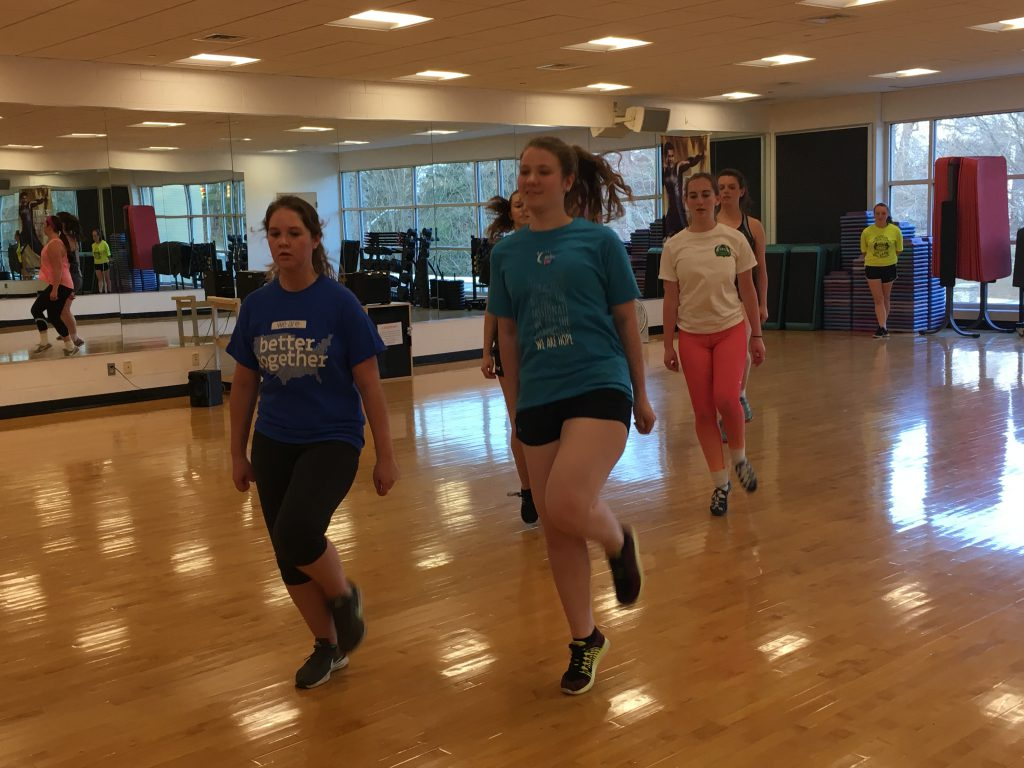 Students practicing Irish dancing