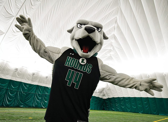Greyhound mascot poses inside the dome with his arms spread wide.