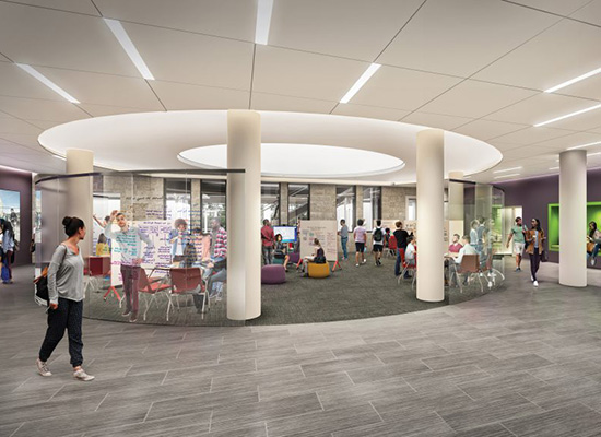 Beatty Hall's new white design in realistic, digital rendition showing students walking around a central, collaborative hub.