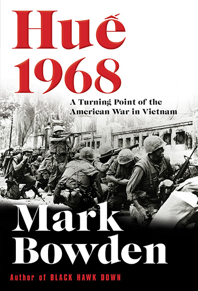 Cover for the book Hue 1968 with a black and white photo from the Vietnam War