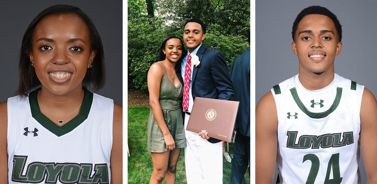Left: Alexis Gray basketball portrait. Middle: Alexis and Daraun Gray posing for a photograph at Daraun's high school graduation. Right: Daraun Gray basketball portrait