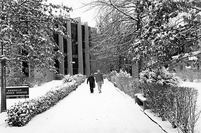 Exterior of the Donnelly Science Center in the snow