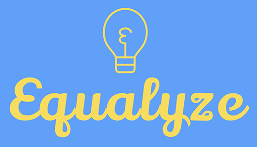 Logo lockup for Equalyze consisting of a lightbulb illustration and the word 'Equalyze'