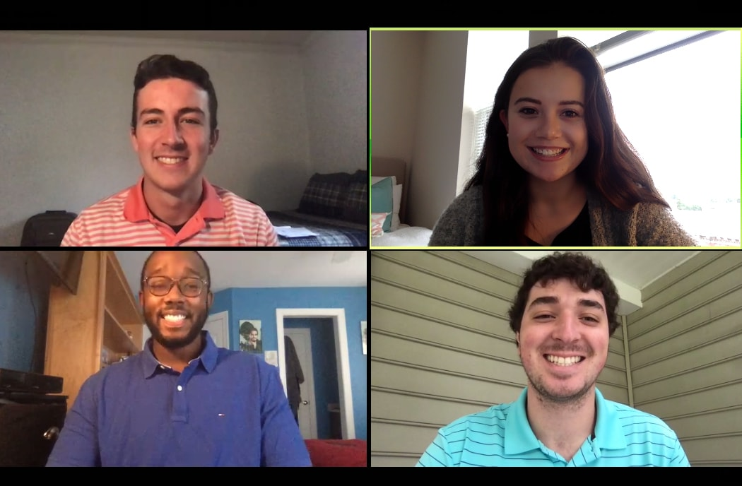 Screenshot of the four students who developed Equalyze on a Zoom call