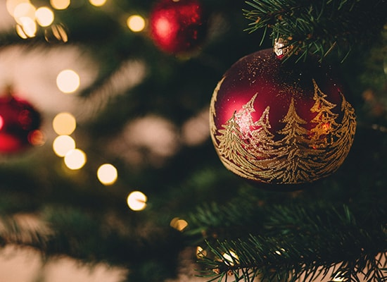 Close up photo of an ornament on a Christmas tree