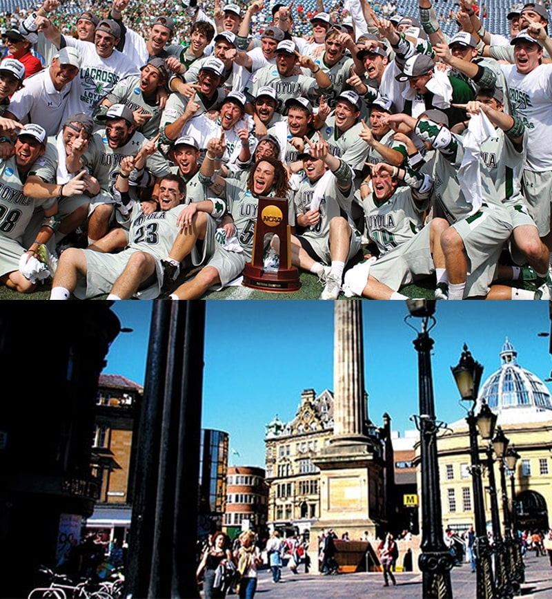 The 2012 men's lacrosse team posing with their championship trophy; Tyne, England