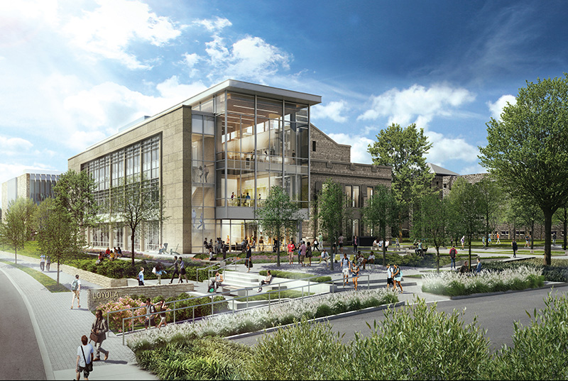 A rendering of the new Fernandez Center for Innovation and Collaborative Learning