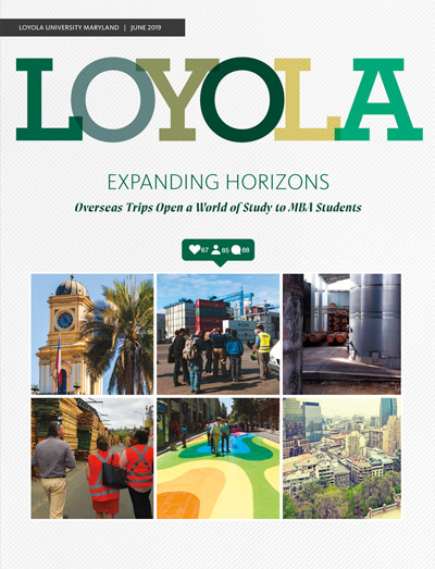 The cover for the June 2019 print issue of Loyola Magazine, showing photos of students in locations abroad