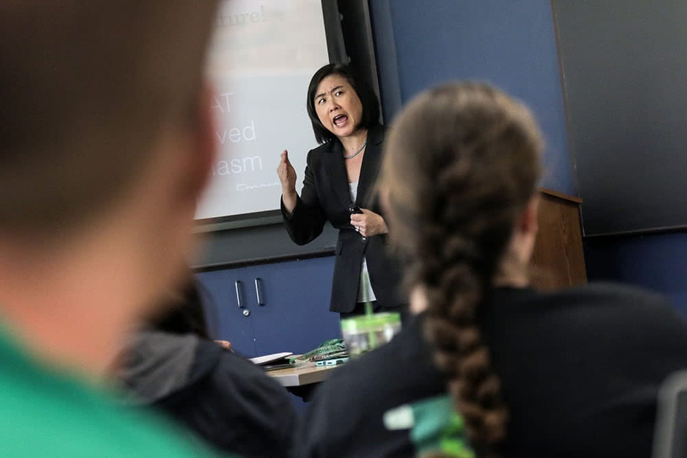 A professor lectures in front of the class, the blurred back of two students can be seen in the foreground
