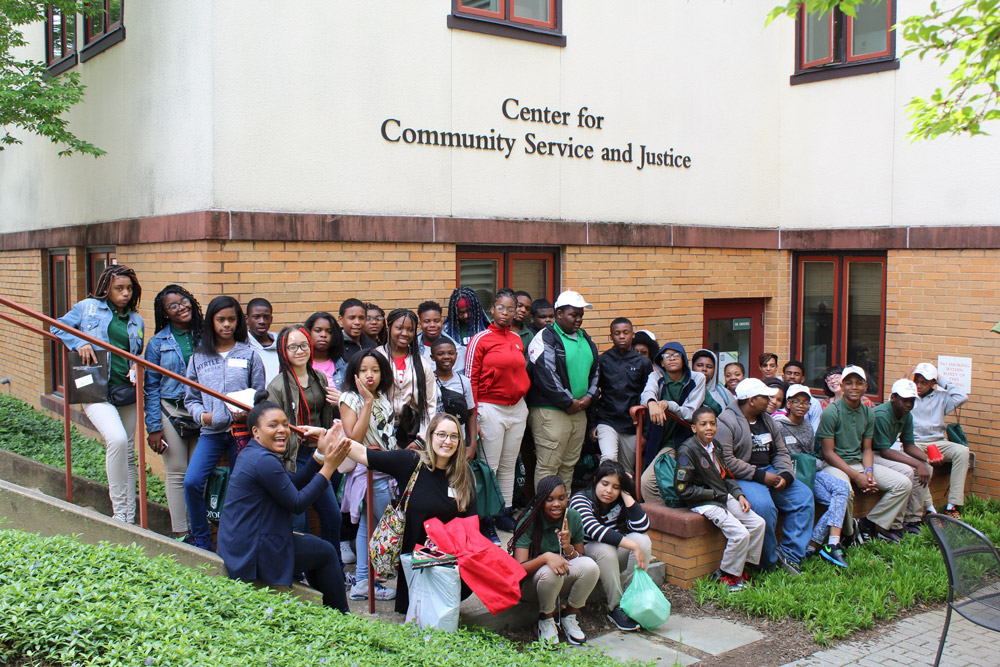 Middle school students from Guilford Elem/Middle School #214 and Walter P. Carter Elementary visiting Loyola's campus.