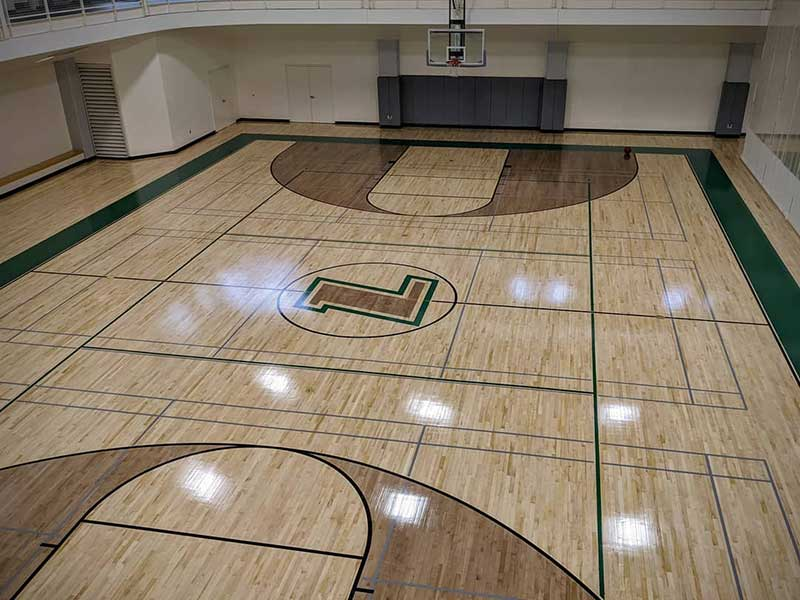 New basketball court flooring at Loyola's FAC