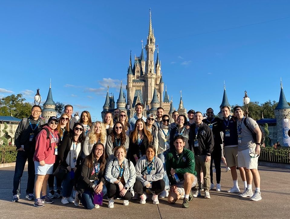Students at Cinderella's castle at Disney World