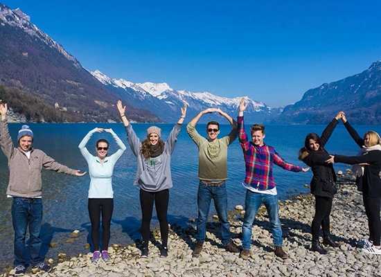 Students spelling out Loyola while studying abroad
