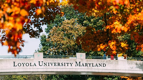 Orange fall foliage surrounds a bridge with the words Loyola University Maryland