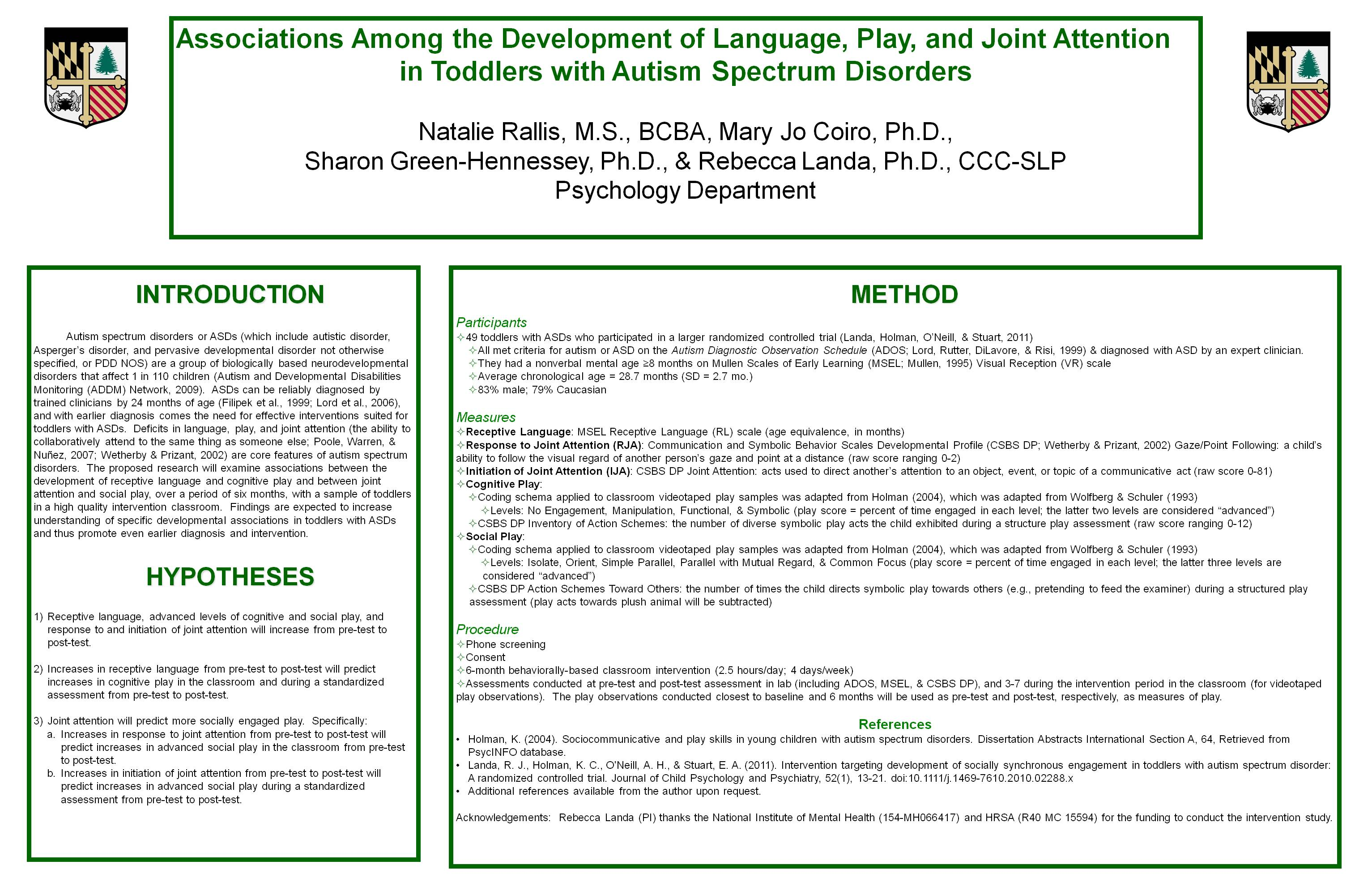 posters 2011 emerging scholars loyola university maryland associations among the development of language play and joint attention in toddlers autism spectrum disorders natalie rallis mary jo coiro ph d