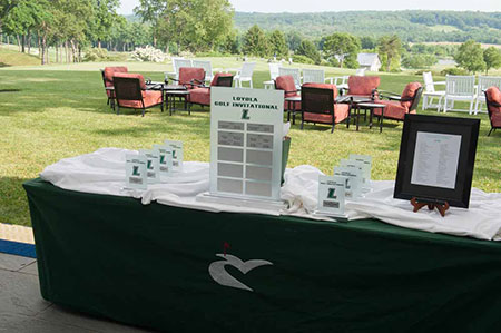 Table with golf awards