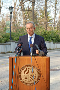 Tony Blair participates in a press conference prior to his lecture