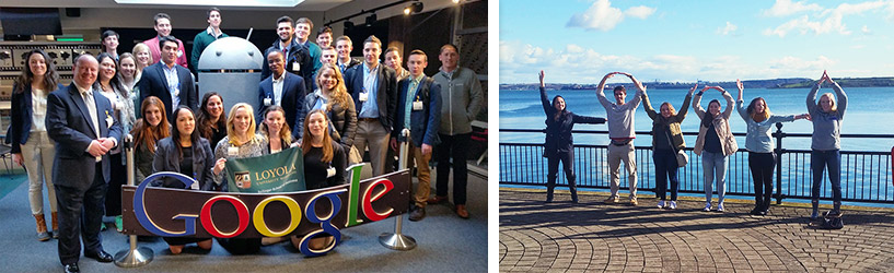 Collage of students on the Ireland Study Tour visiting Google and cities outside Dublin