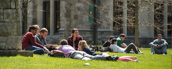 Students relaxing on the Quad