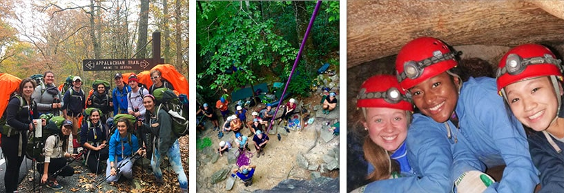 Students rappelling and spelunking