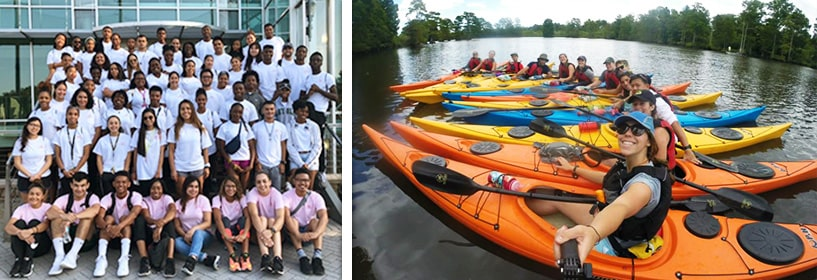 Group of students and students in kayaks
