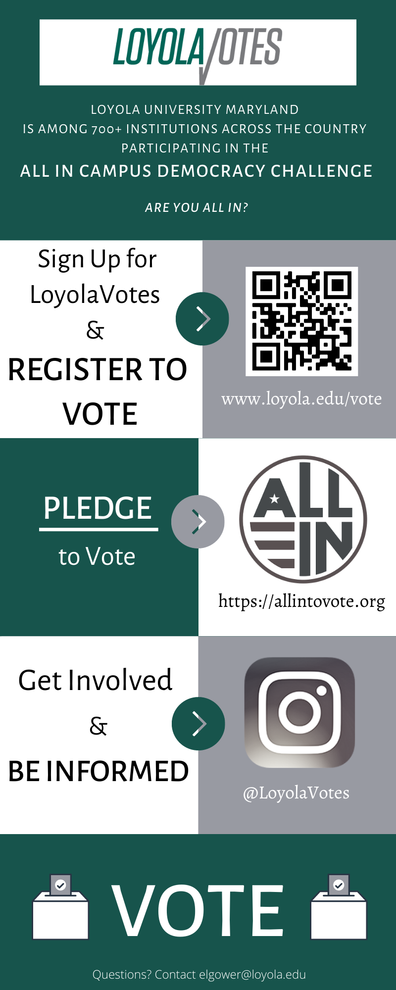 This is an infographic about LoyolaVotes. Loyola University Maryland is among 700+ Institutions across the country participating in the ALL IN Campus Democracy Challenge. Are you ALL IN? Sign up for LoyolaVotes and Register to Vote: www.loyola.edu/vote; Pledge to Vote: https://allintovote.org; Get Involved and Stay Informed: Instagram @LoyolaVotes