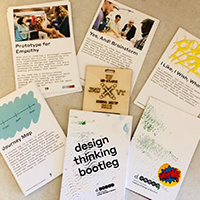 Assorted leaflets on design thinking