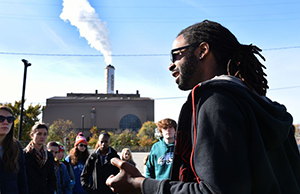 Tour guide and representative from Energy Justice Network, Dante Swinton
