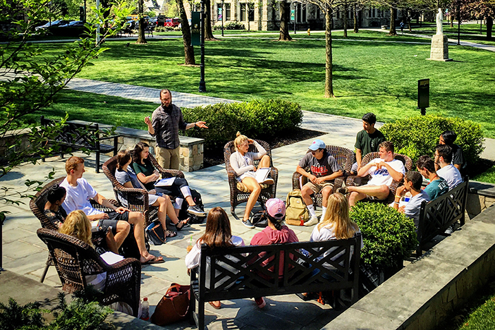 Class outside Loyola University Maryland