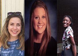 Gilman Scholars: Natalie Morris, Devin Maus, and Joy Kelson.