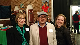 (L-R) Dean of the Sellinger School of Business, Kathleen Getz, Ph.D., microloan recipient and Owner of Rossiter Corner store and the Govans Deli Abdulsamad
