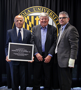 inaugural Patrick and Deborah Allender Endowed Department Chair for Accounting Jalal Soroosh, Ph.D., Patrick Allender, and Bobby Waldrup, Ph.D., accounting professor and associate dean