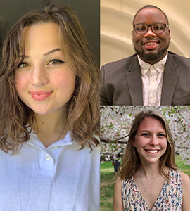 Portraits of the three Loyola students who have been awarded the Benjamin A. Gilman International Scholarship