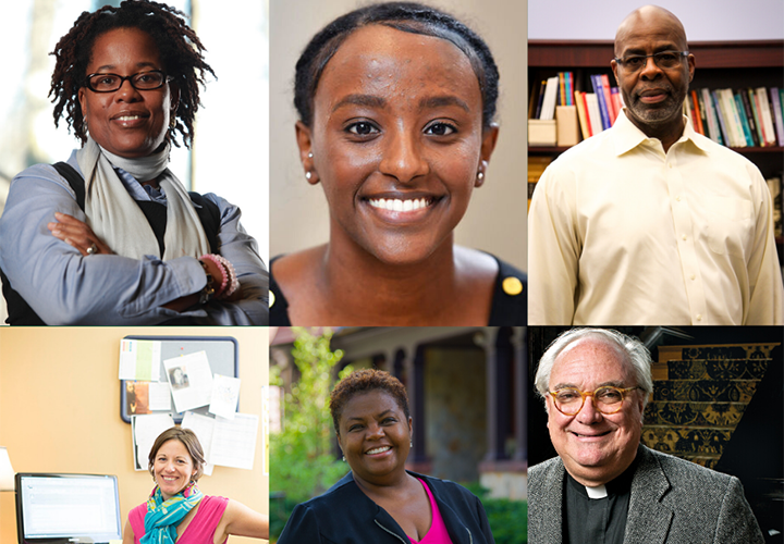 Karsonya Wise Whitehead, Ph.D., Helina Haile, M.A., H. Lovell Smith, Ph.D., Erin O'Keefe, '03, Cheryl Moore-Thomas, Ph.D., Rev. Timothy Brown, S.J.