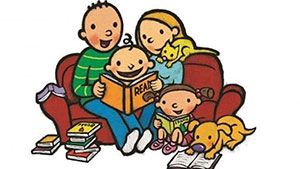 Mother, Father, children, and pets reading together on the couch