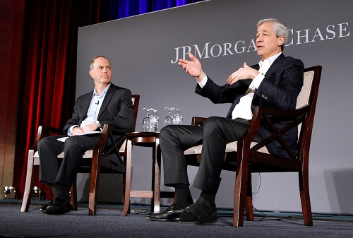 Jamie Dimon and Andy Serwer at the JPMorgan Chase shareholder letter town hall