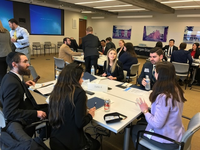 Full-time Loyola MBA students participate in First Friday class at Morgan Stanley