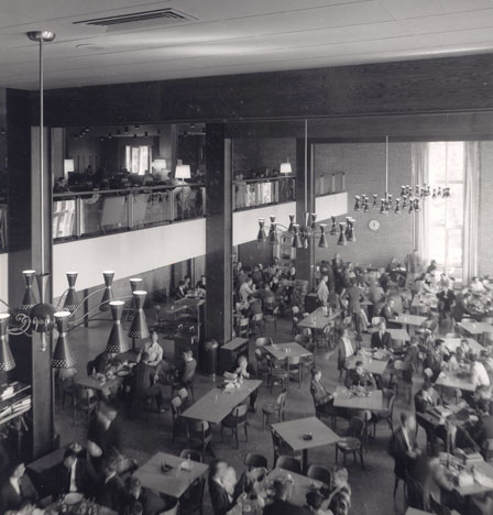 Andrew White Student Center Cafeteria in the late 1970s