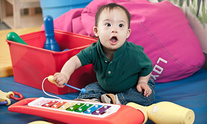 Luis, a five-month-old with Down Syndrome, at the Loyola Clinical Centers