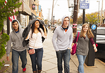 Students walking through Baltimore City