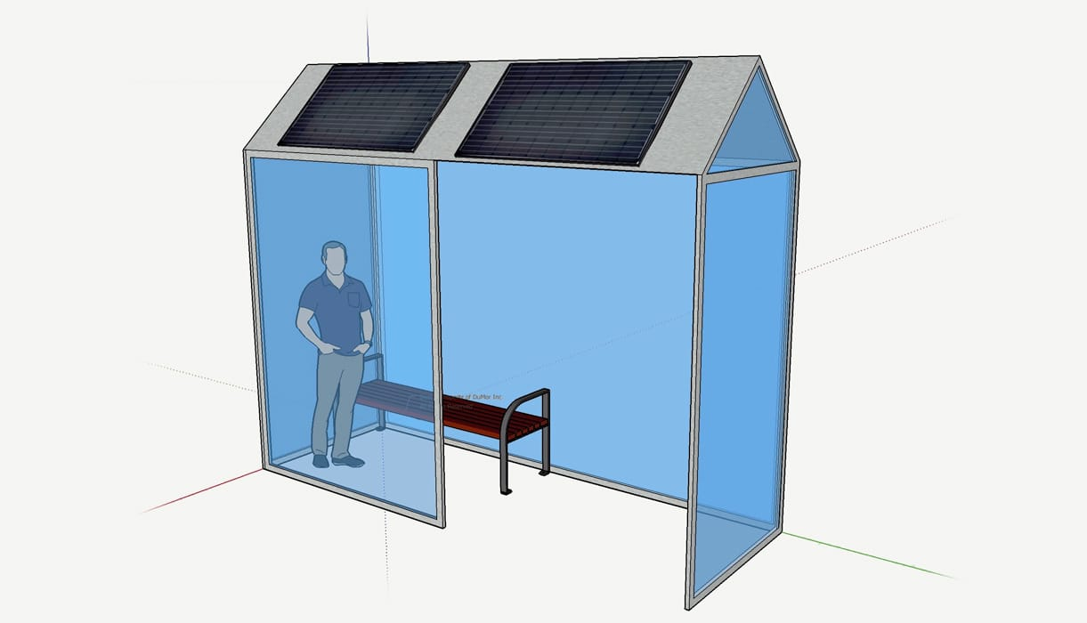 A 3-D rendering of a bus stop with solar panels on top