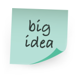 Illustration of post-it note reading big idea