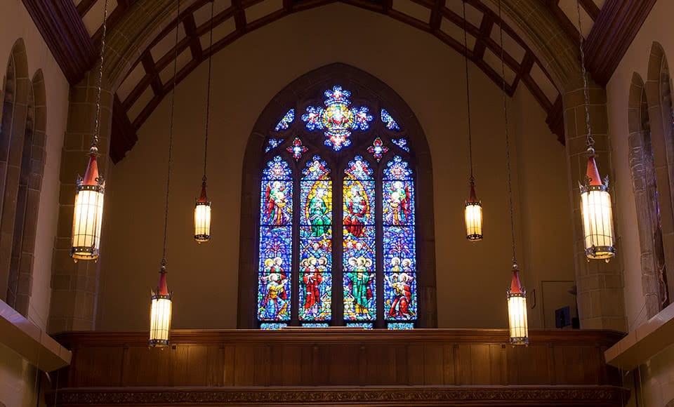 Stained glass window in the chapel