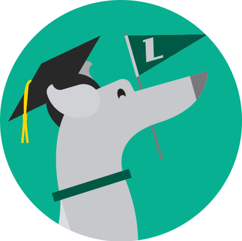 Illustration of greyhound holding L flag and wearing a graduation cap